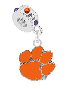 Clemson University Charm with Connector Fits Pandora, Troll, Biagi & More