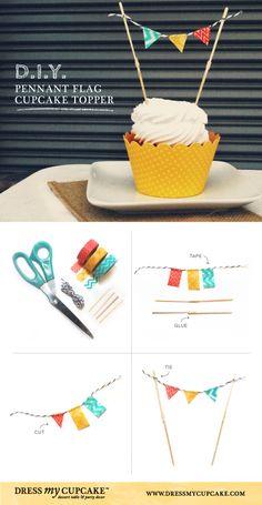 DIY Washi Tape Pennant Flag Cupcake Topper | Dress My Cupcake #DIY #cupcake birthday, diy cupcak, craft, cupcak topper, washi tape cupcake toppers, cupcake cakes, cupcak decor, flag cupcake toppers, flag cupcakes