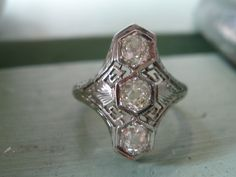 Sale FINAL REDUCTION  Stunning 1920's Antique Art Deco Belais Brothers 18K  Chunky Old Mine Cut Diamond Filigree Ring. $625.00, via Etsy.