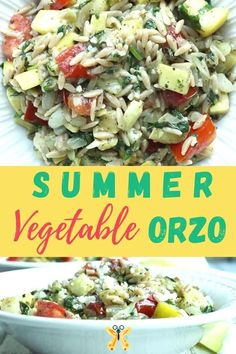 Summer Vegetable Orzo Such an easy and healthy one-pot dinner that everyone just loves. This Summer Vegetable Orzo is delicious and simple and fast to make. great vegetarian dinner recipe.<br> Clean Eating Dinner, Clean Eating Recipes, Vegetarian Recipes Videos, Healthy Recipes, Baked Chicken Recipes, Orzo, Healthy Baking, Dinner Recipes, Dinner Ideas