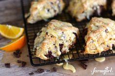 orange and dark chocolate scones with orange glaze - www.afarmgirlsdabbles.com