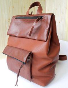 brown leather backpack by nastya klerovski