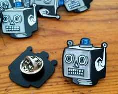 Robot Enamel Pin Badge Brooch, Lapel Pin, Retro Flair, Tie Pin, Geek Pin, Sci-Fi Pin by WoahTherePickle on Etsy