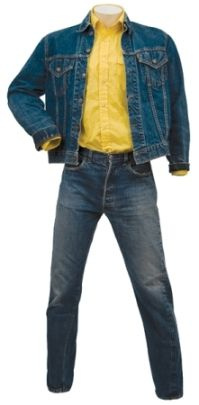 Perhaps some bidders were skeptical about it, because just one year earlier a Stay Away Joe outfit of jacket, pants and yellow shirt went for $41,434 at another Gotta Have It auction. Description from elvisguello.blogspot.com. I searched for this on bing.com/images