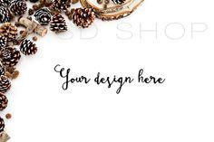 SET of 3 + FREE Cropped Image | Styled stock photography | Mockup | JPG Digital Image | White Desk with pinecones | Christmas styled stock images | Autumn styled stock images