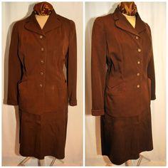 Vintage 40's 50's Garbardine Skirt Suit / Size by CicelysCloset