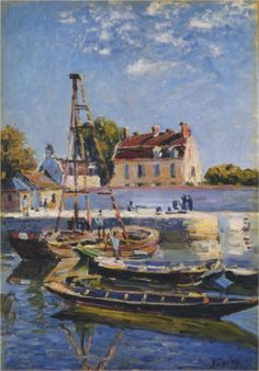 Boats, 1885 by Alfred Sisley. He was born 30 October Paris, France. This giclée print delivers a vivid image with maximum color accuracy and exceptional resolution. Impressionist Landscape, Impressionist Artists, Post Impressionism, Landscape Paintings, Oil Paintings, Pierre Auguste Renoir, Claude Monet, Boat Painting, Painting Prints