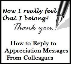 Appreciation Messages : Reply to Appreciation Messages