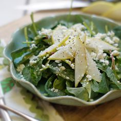 Kale, Pear & Feta Salad. This tasty salad features nutrient-rich baby kale and spinach, topped with sweet pears, tangy feta cheese, and a tart lemon dressing.
