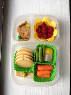 Twisty string cheese, baby carrots, pancakes, snap peas, orange marmalade for pancakes (in the condiment container), raspberries, Snackimals animal crackers, peanut M #foodforharper #bento http://www.facebook.com/FoodForHarper @EasyLunchboxes