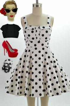50s Style WHITE & Black POLKA DOT Bombshell PINUP Full Skirt Sun Dress