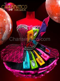 Fuchsia lace accented Dollie dress with jeweled rainbow satin ribbons #CHARISMATICO