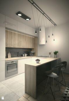 Projekt kawalerki - Średnia kuchnia w kształcie litery u w aneksie z wyspą, styl nowoczesny - zdjęcie od Look