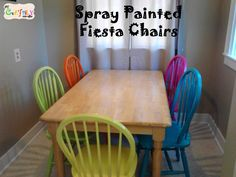 painted dining room furniture | spray painted fiesta dining room table chairs