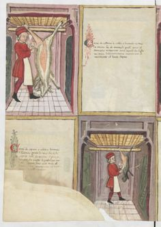 Gallica - Giovanni cadamosto da lodi, libro de componere herbe et fructi, [cote Meat Skewers, Medieval Life, Bnf, Painting, Life, Goat Meat, Italy, Kleding, Painting Art