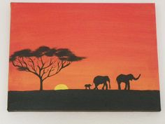 sunset using acrylics .