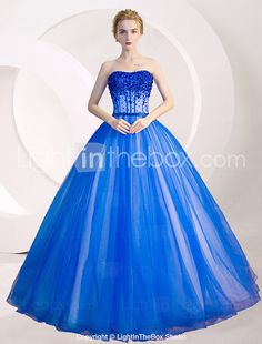 Formal Evening Dress Ball Gown Strapless Floor-length Tulle with Crystal Detailing / Sequins 2017 - $257.39