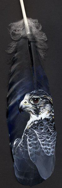 Рисунки на перьях.