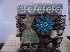 Photo Album  Pink  Black  Lace   Blue pearls   ruffle by mslizz, $14.00