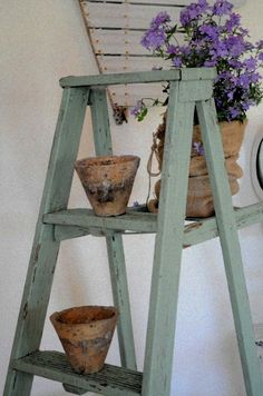 Love this color on the ladder!  And crusty whites, and purples.