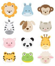 Vector illustration of animal faces including lion hippo monkey zebra dog cat pig panda giraffe tige Stock Vector Jungle Animals, Felt Animals, Cute Baby Animals, Cute Animal Illustration, Animal Illustrations, Vector Illustrations, Diy Bebe, Quilt Baby, Animal Faces