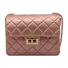 Twist Lock Quilted Chain Crossbody Bag Rose Gold ($30) ❤ liked on Polyvore featuring bags, handbags, shoulder bags, zaful, purses, brown cross body purse, brown shoulder bag, quilted handbags, quilted crossbody and crossbody handbag