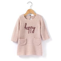 Long-Sleeved Embroidered Dress R baby : price, reviews and rating, delivery. Long-sleeved stranded knit dress. Embroidered motif on the front and buttoned keyhole back accentuated by a satin bow. 2 pockets on the front. Ribbed edging. 100% acrylic.
