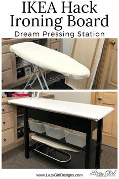 Toss your ironing board and make your dream pressing station with this easy IKEA hack. Step by step photos and video tour. Large pressing surface with added storage shelves and drawers. Great for sewing organization. #IroningBoard #Sewing #IKEAhack