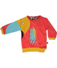 Ubang toffe rode blouse met grote tropische vogel #emilea