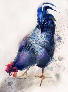 """Saatchi Art Artist Olga Flerova; Painting, """"Blue Rooster №2"""" #art"""