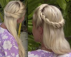Bohemian twisted half up half down hairstyle from hair tutorial http://www.youtube.com/watch?v=FQNKVv09lMI