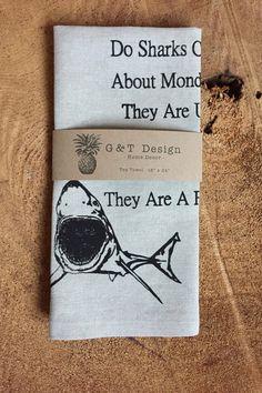 Do Sharks Complain Screen Printed 100% Linen Tea
