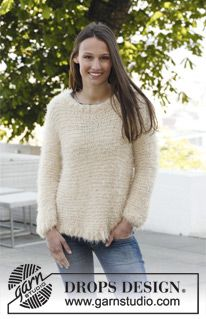 """Knitted DROPS jumper in garter st in """"Symphony"""" or """"Alpaca"""" and """"Vivaldi"""". Size S- XXXL ~ DROPS Design"""