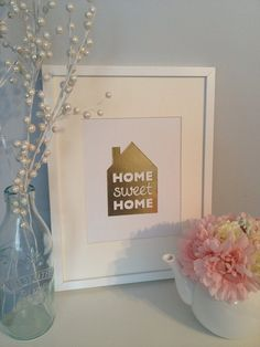 Home Sweet Home Housewarming Gold Foil Art 8 x by ThePaperShoppeCA