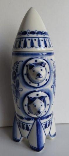 1st Astronauts Belka Strelka Space Dogs Rocket Shtof JUG Porcelain Gzhel | eBay
