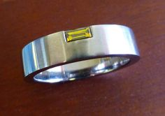 I love this custom made titanium wedding band!  It is set with yellow and white diamonds and was custom made at www.precisionring.com Gents Ring, White Diamonds, Wedding Bands, Rings For Men, Yellow, Jewelry, Men Rings, Jewlery, Jewels