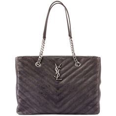 Saint Laurent Monogram College Chain Tote Bag ($2,710) ❤ liked on Polyvore featuring bags, handbags, tote bags, dark gray, leather tote bags, quilted leather handbags, genuine leather tote, chevron tote bag and leather tote
