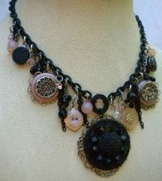 ~ Antique Glass Button Necklace ~