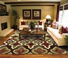 New Modern Area Rugs Living Room 5x7 Rug For Bedroom 5x8 Burgundy Green Cream Beige Rug For Dining Room Washable Rugs, http://www.amazon.com/dp/B018098T8W/ref=cm_sw_r_pi_awdm_DUJRwb112XY1M
