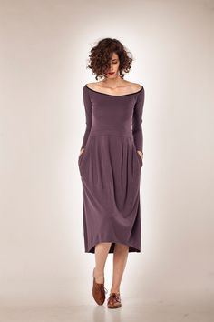 Women Dress/ Long Sleeves Dress/ Midi Dress/ Winter Dress/ Womens Dress/ Cocktail Dress / Maxi Dress/ Purple Dress by YaelAdmoni on Etsy https://www.etsy.com/listing/174714696/women-dress-long-sleeves-dress-midi