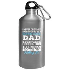 Super Cool Dad Of Awesome Production Technician Dad Gift  Water Bottle ** For more information, visit image link. (This is an affiliate link) #FitnessWaterBottles