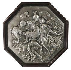 Placa de metal(matriz)para impressão de gravuras do século XIX representando o rapto das sabinas( r