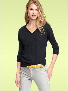 Three-quarter sleeve V-neck sweater in navy or regular grey | Gap (SALE $29.99)
