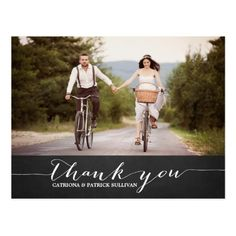 Country Wedding Thank You Cards White Script Rustic Wedding Thank You Postcard