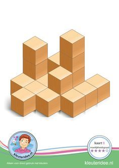 Hoogbegaafde kleuters: Bouwkaart 8 moeilijkheidsgraad 4 voor kleuters, kleuteridee, Preschool card building blocks with toddlers 8, difficulty 4, free printable.