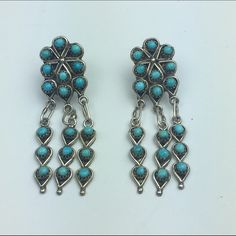 """[Vintage] Zuni Turquoise Earrings Boho Fringe Chic Stunning pair of Zuni handmade earrings. Silver and turquoise. Post back. Lightweight. Perfect for every day wear. Signed Zuni on the back as shown. So unique.  Length: 1.5"""" Condition: EUC. No flaws.   No Trades! Vintage Jewelry Earrings"""