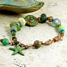 Electric Lime Starfish Patina Brass Beach OOAK by enlalumiere, $40.00