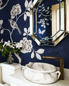 We love this fresh yet moody powder room by too! It's papered in our Nonsuch design, hand painted on a custom blue ground. ・・・ Gorgeous powder room details from designer Interior, Powder Room, Chinoiserie, Home Decor, House Interior, Bathroom Interior, Home Decor Tips, Bathroom Decor, Beautiful Bathrooms