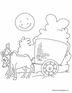 Bullock Cart In The Village Road Coloring Pages
