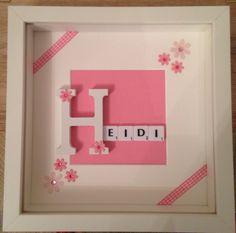 Personalised Scrabble Frame Baby Girl Christening, Birthday, gift